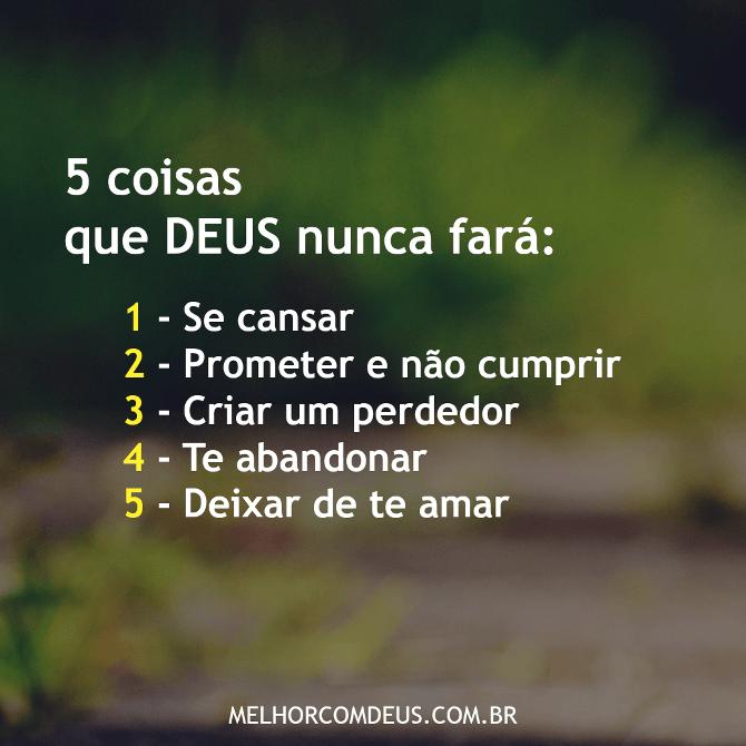 Cinco coisas que Deus nunca fará