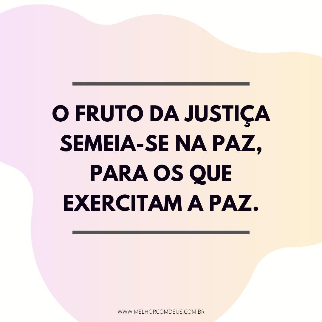 O fruto da justiça semeia-se na paz